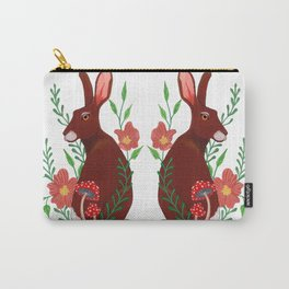 Floral Rabbits Carry-All Pouch