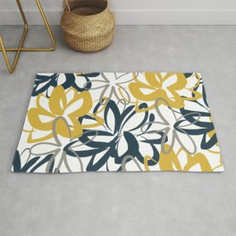 Lotus Garden Painted Floral Pattern in Light Mustard Yellow, Navy Blue, and Gray on White Rug