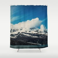 alaska Shower Curtains featuring Alaska Mountain by Leah Flores