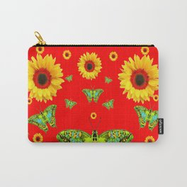 RED COLOR YELLOW SUNFLOWERS GREEN MOTHS Carry-All Pouch
