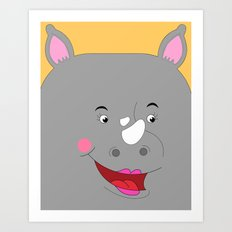 Rhino Female in Love Looking to the Right Art Print