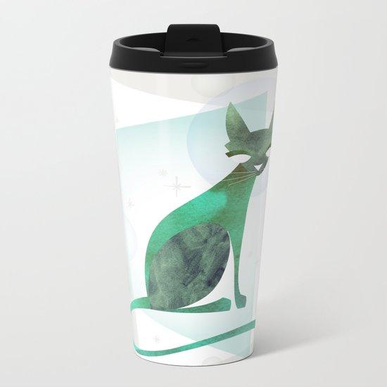 Mid-Century Feline Metal Travel Mug