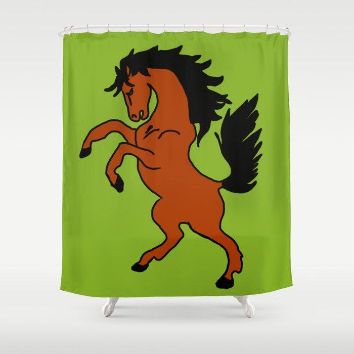 The Fierce Mustang Shower Curtain