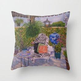 Garden Deck With Blue Barbecue Throw Pillow