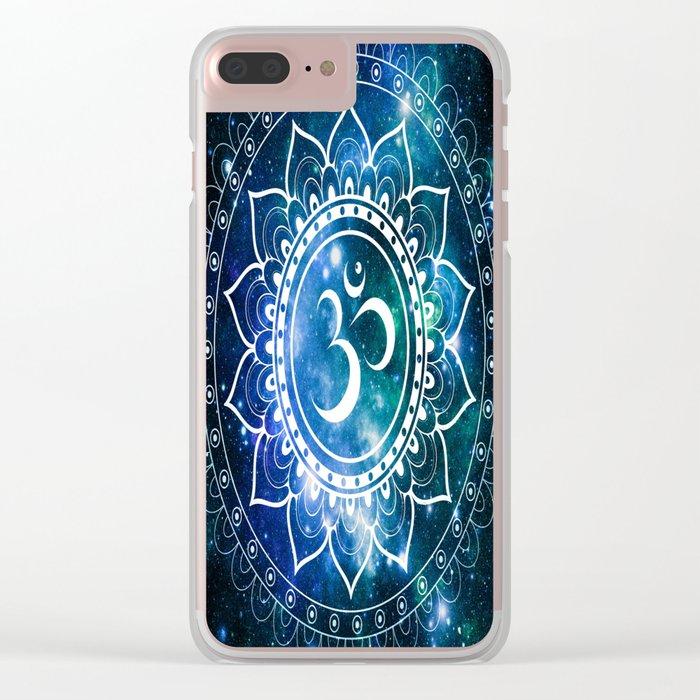 Om Mandala : Blue Green Galaxy Clear iPhone Case