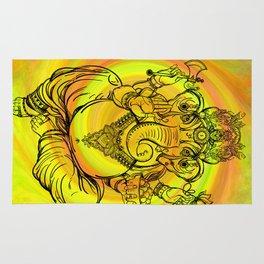 Lord Ganesha on Yellow Spiral Rug