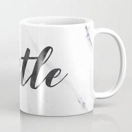 Hustle Text on Marble Black and White Coffee Mug
