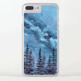 """Adventure Awaits"" watercolor galaxy landscape illustration Clear iPhone Case"