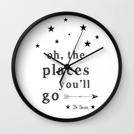 Oh the places you'll go - Dr Seuss Wall Clock
