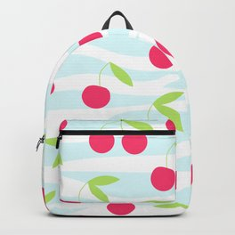 Seamless cherry pattern on striped Backpack
