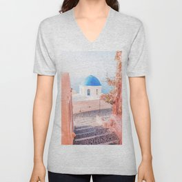 Santorini Greece Mamma Mia pink travel photography in hd. Unisex V-Neck