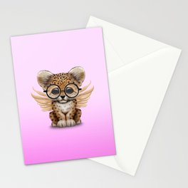 Cute Leopard Cub Fairy Wearing Glasses Pink Stationery Cards
