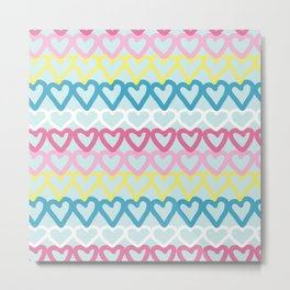 Colorful doodle hearts over blue Metal Print