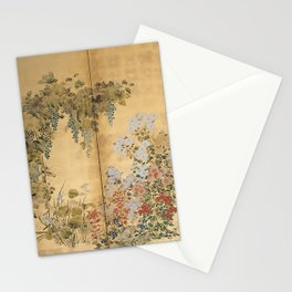 Japanese Edo Period Six-Panel Gold Leaf Screen - Spring and Autumn Flowers Stationery Cards