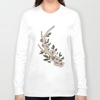 antler Long Sleeve T-shirts featuring Floral Antler by Jessica Roux