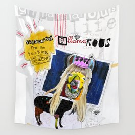 G-LLAMA-ROUS  Princess? I'm the F'ing Queen Llama Collage Wall Tapestry