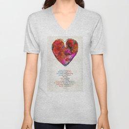 Red Heart Art - Love Is - By Sharon Cummings Unisex V-Neck