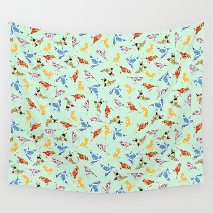 Wallpaper Birds Mint Green Wall Tapestry By Notsniw