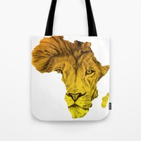 musa Tote Bags featuring King Of The Jungle! by DeMoose Art