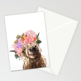 Highland Cow with Flower Crown Stationery Cards