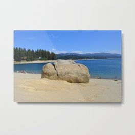 South California  lake under blue sky.  White sandy beach and a huge rock. Metal Print