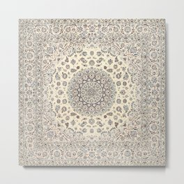 Bohemian Farmhouse Traditional Moroccan Art Style Texture Metal Print