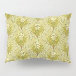 Light Green Floral Art Nouveau Inspired Pattern Pillow Sham