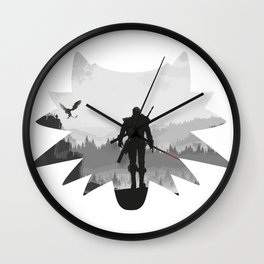 The white wolf Wall Clock
