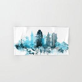 Kansas City Monochrome Blue Skyline Hand & Bath Towel