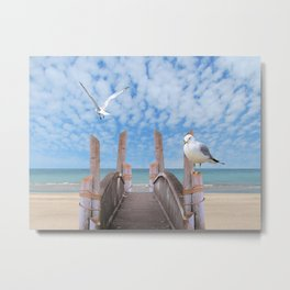 Dock on Beach with Seagulls A340 Metal Print