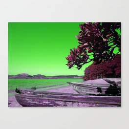Tropical Beach with Wooden Boats in Green Canvas Print