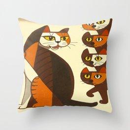 Inagaki Tomoo Vintage Japanese Woodblock print mid century Modern Cubism Art Cats Feline Throw Pillow