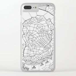 Adult Coloringbook Template Abstract Face Clear iPhone Case