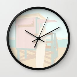 Beach Hut - Mint and Blush  Wall Clock