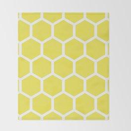 Honeycomb pattern - lemon yellow Throw Blanket