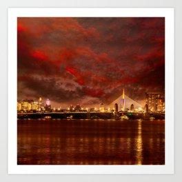 Boston Charles River Bridges Art Print