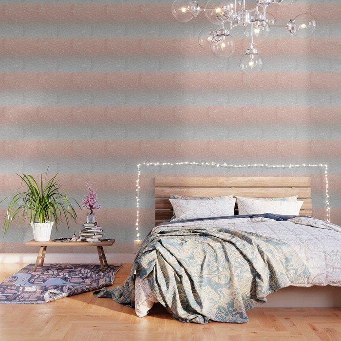 Modern trendy rose gold glitter ombre silver glitter Wallpaper by girlytrend