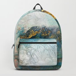 Lapis - Contemporary Abstract Textured Floral Backpack