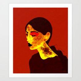 Red Night   Low Brow Illustration, Woman Portrait, Digital Mixed Media Art Print
