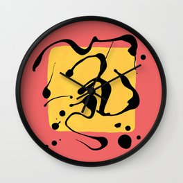 Paint Dance Yellow Square on Pink Wall Clock