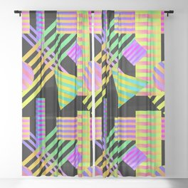 Neon Ombre 90's Striped Shapes Sheer Curtain