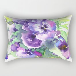 Pansy, flowers, violet flowers, gift for woman design floral vintage style Rectangular Pillow