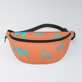 Teal Lightning Bolts on Orange Minimal Abstract Art Fanny Pack