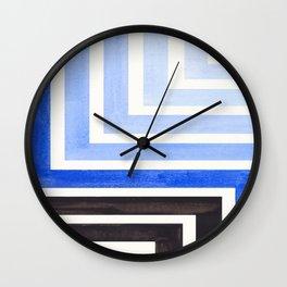 Marine Blue Mid Century Modern Watercolor Colorful Ancient Aztec Art Pattern Minimalist Geometric Pa Wall Clock