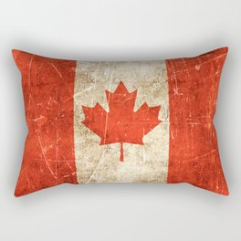 Vintage Aged and Scratched Canadian Flag Rectangular Pillow