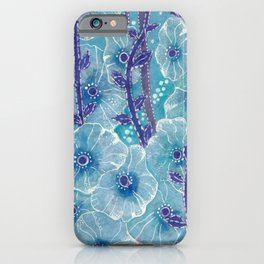 Hollyhock Mallows, Summer Flowers, Floral Art, Turquoise Violet iPhone Case