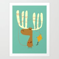 moose Art Prints featuring A moose ing by Picomodi