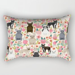 Frenchie floral french bulldog cute pet gifts dog breed must haves florals french bulldogs Rectangular Pillow