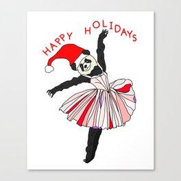 Happy Holidays Secret Santa Panda Ballerina Canvas Print