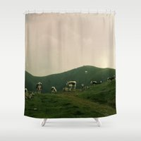 cows Shower Curtains featuring Cows by Camille Hermant